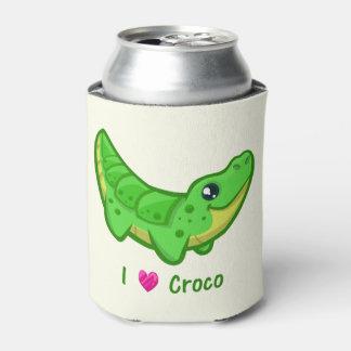 Cute crocodile love kawaii cartoon kids can cooler