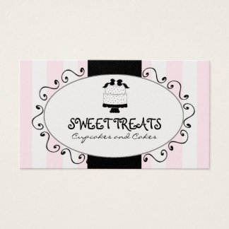 Cute Cupcake Cake Bakery Pink Black Stripes Business Card