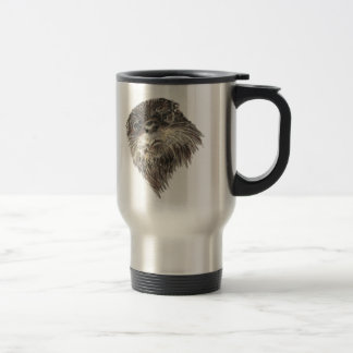 Cute Curious Otter Watercolor Animal Art Stainless Steel Travel Mug