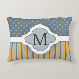 Cute Custom Monogram Polka Dot Stripes Pattern Decorative Cushion