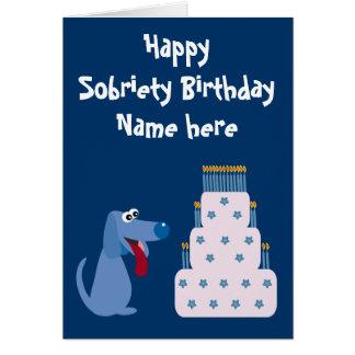 Cute Customisable Dog & Cake Sobriety Birthday Cards