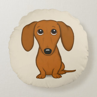 Cute Dachshund | Cartoon Wiener Dog Round Cushion