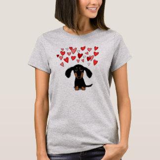 Cute Dachshund Puppy with Valentine Heart T-Shirt