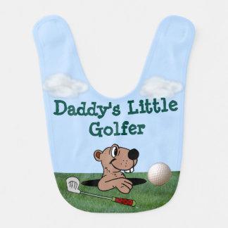 """Cute """"Daddy's Little Golfer"""" Baby Bib w/Gopher"""