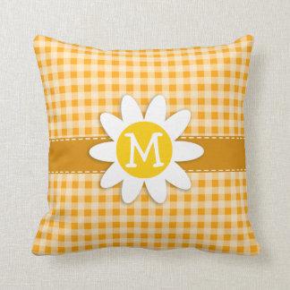 Cute Daisy; Amber Orange Gingham; Checkered Throw Pillow