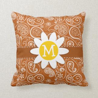 Cute Daisy on Burnt Orange Paisley; Floral Throw Pillow