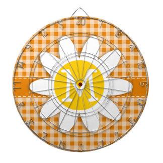 Cute Daisy on Dark Orange Gingham Dartboard