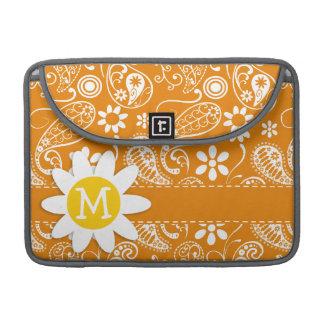 Cute Daisy with Dark Orange Paisley Sleeves For MacBooks