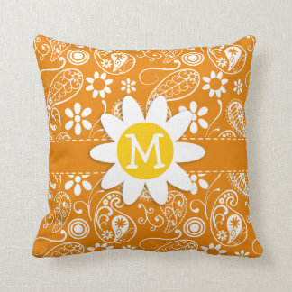 Cute Daisy with Dark Orange Paisley Throw Pillow