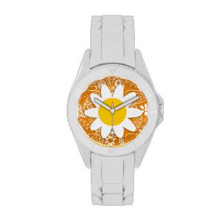 Cute Daisy with Dark Orange Paisley Wrist Watches
