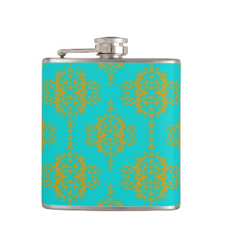 Cute Damask Gold over Turquoise Hip Flask