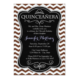 Cute Dark Brown and White Chevron Stripes Personalized Announcements
