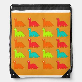 Cute Dino Pattern Walking Dinosaurs Drawstring Bag
