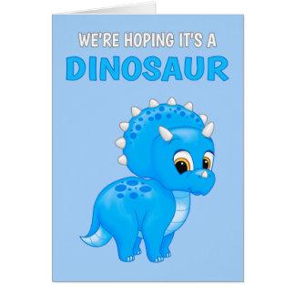 Cute Dinosaur Baby Boy Pregnancy Announcement Note Card