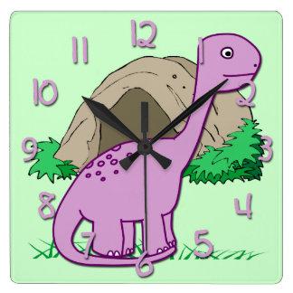 Cute Dinosaur Kid's Square Wall Clock