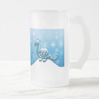 Cute Dinosaur Playing in the Snow! Frosted Glass Beer Mug