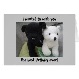 Cute Dog And Bear Birthday Greeting Card