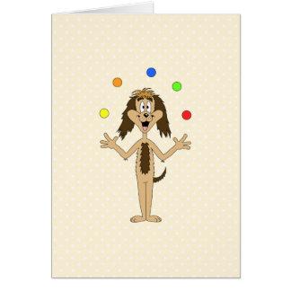 Cute Dog Cartoon. Juggler. Card