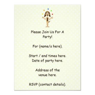 Cute Dog Cartoon. Juggler. Personalized Invitation
