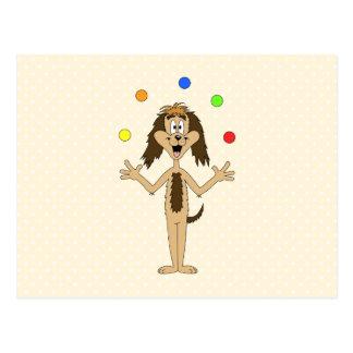 Cute Dog Cartoon. Juggler. Post Cards