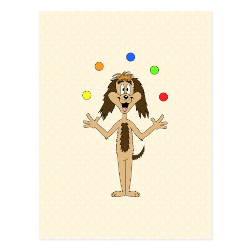 Cute Dog Cartoon. Juggler. Post Card