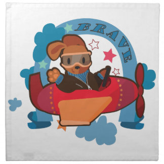 Cute Dog on flying plane fun cartoon illustration Napkin