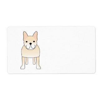 Cute Dog. Pale Cream French Bulldog. Shipping Label