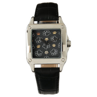 Cute Dog Pawprints Design Black Leather Watch