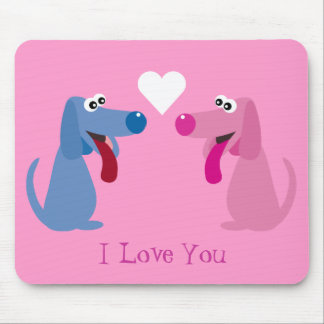 Cute Dogs & Heart I Love You Pink Customizable Mouse Pad