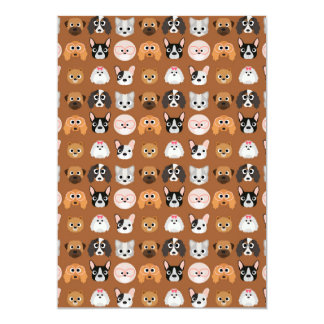 Cute Dogs on Brown 13 Cm X 18 Cm Invitation Card