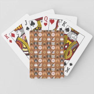 Cute Dogs on Brown Playing Cards