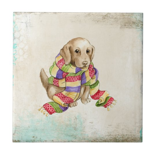 Cute domestic canine dog with a scarf. small square tile