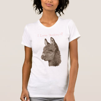 Cute donkey drawing realist animal art t-shirt tshirts