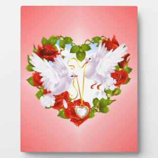 Cute Doves, Red Roses, Heart, Photo Plaque