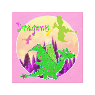 Cute Dragon Artwork for Kids Stretched Canvas Print