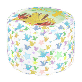 Cute Dragon with customizable Name Angelina Round Pouffe
