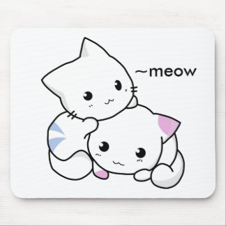 Cute Drawing of Boy and Girl Kitten in Love Mousepad