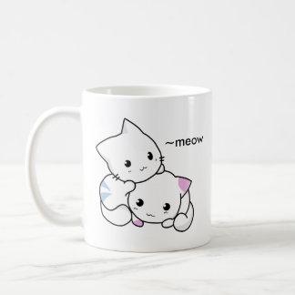 Cute Drawing of Boy and Girl Kitten in Love Coffee Mug