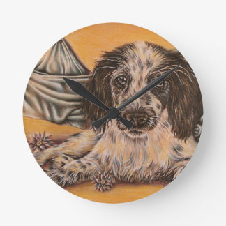 Cute Drawing of Spaniel Dog Wall Clocks