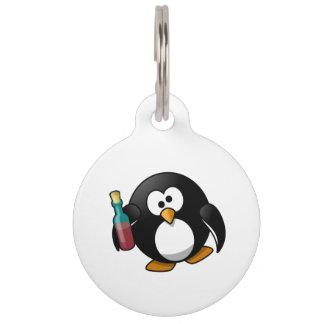 Cute Drunken Penguin Art Pet ID Tag