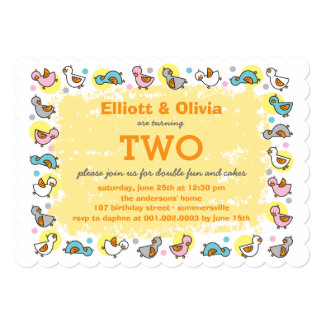 Cute Duckies Boy Girl Twins Joint Birthday Party Invitations