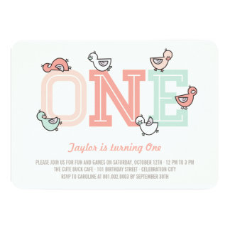 Cute Ducks Big One Girl 1st Birthday Party Invite