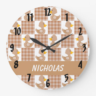 Cute Ducks (Brown) Clocks