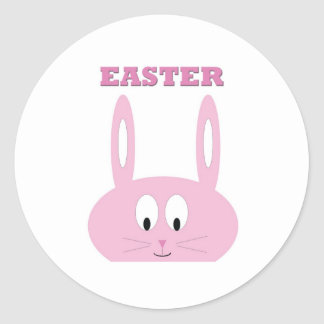 Cute Easter Bunny Character Round Sticker