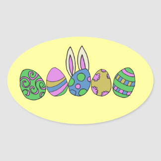 Cute easter bunny oval sticker
