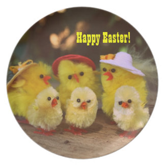 Cute Easter Chickens Happy Easter Plate