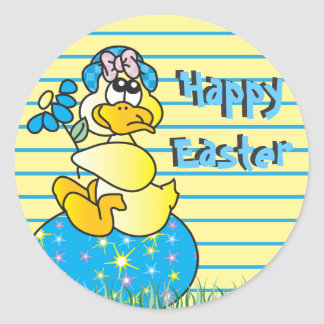 Cute Easter Time Duck Round Sticker