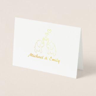 Cute elegant elephants in love personalised foil card