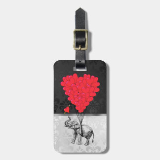 Cute elephant and love heart on gray luggage tag
