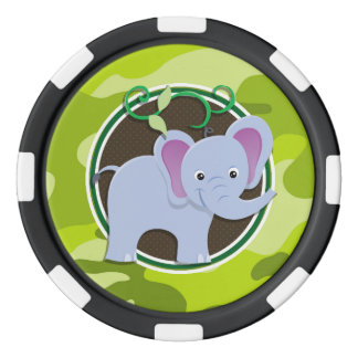 Cute Elephant; bright green camo, camouflage Poker Chips